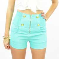 Follow me High Waist Sailor Style Shorts Mint