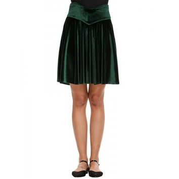 Solid High Waist Velvet Stretchy Flared Pleated Skirt