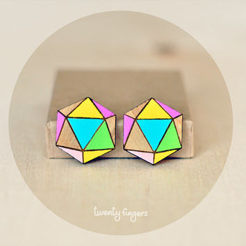 Wood Earrings Geometry Polyhedron ( Laser cut )