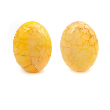 Yellow Dragon Vein Agate Cabochons