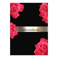 Red Roses, Custom Quinceanera Invitation