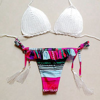 White Weave Top and Tassel Bottom Matching Bikini Set