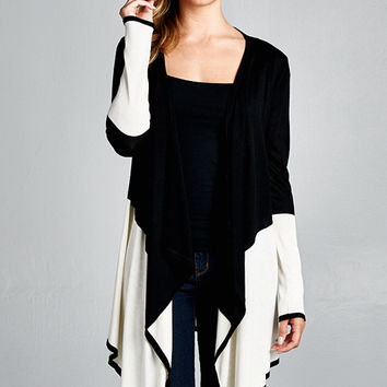 Black & Ivory Draped Cardigan