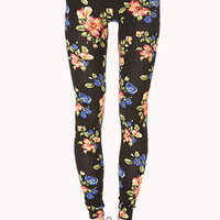 FOREVER 21 Favorite Floral Leggings Black/Coral X-Small