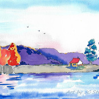 Original Painting Watercolor Ink Impressionistic Landscape Painting Sky Colorful Hill Trees Red Roof Sfa