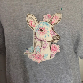 Large Jacket Patch Embroidered Deer Patch Applique Animal diy tshirt pillow