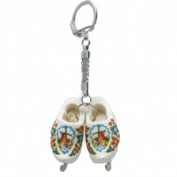 Wooden Shoe Keychain: White Clogs with Skates