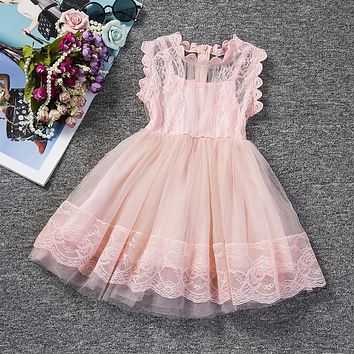 Pink Kids Baby Girls Party Dresses Lace Princess Dress For Baptism Wedding Children Clothing Girl Tulle Tutu Dress 2-6 Years