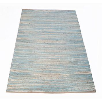 Rectangular Shape Carmel Rug In Jute/Cotton Chenille, Aqua Blue