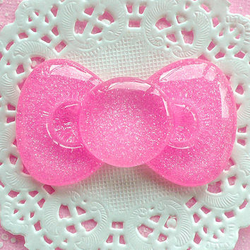 Bowtie Bow Cabochon with Glitter BIG 60mm x 35mm Kawaii Big Cabochon Cell phone Deco (Light Pink) CAB046