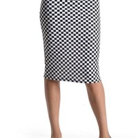 Office Plaid & Check Print Straight Slim Knit Fitted Knee Length Skirt