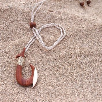 Kona Wooden Fish Hook Hawaiian Necklace