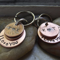 Couple set of Lucky Us Keychains,  2 Lucky Us Copper Keychains with One lucky penny each