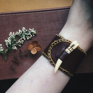 rustic tooth bracelet - leather cuff bracelet toggle clasp - medieval bracelet - primitive jewelry - upcycled leather - unisex cuff