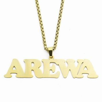 Punk Style Box Chain Custom Name Personalized Necklace for Women Stainless Steel AREWA Pendant Signature Customized Jewelry
