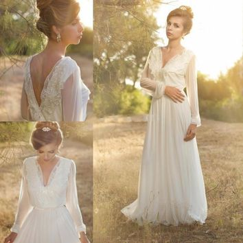New 2017 Boho Wedding Dress Long Sleeve Beach Chiffon with Lace V Neck vestido de festa Romantic Bridal Gowns White