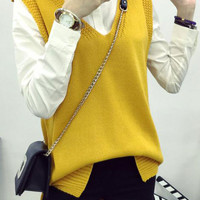 Solid Color Knitted High Low Slit Pullover Sweater