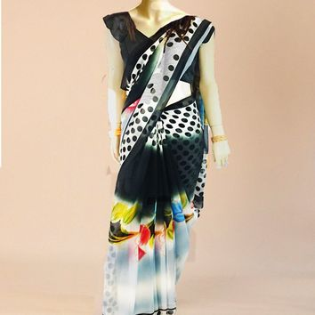 the goergette saree in a contemporary water color floral design