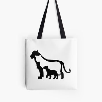 'Black and White Lions' Tote Bag by thekohakudragon