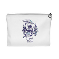 Funny Multitasker Beach Loving Octopus Carry All Pouch  Flat