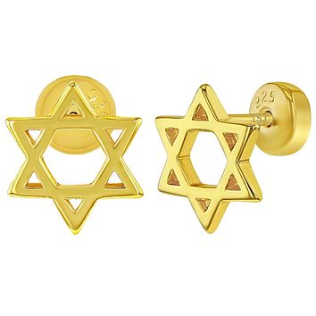 925 Sterling Silver Gold Flashed Star of David Push Safety Back Earrings Girls