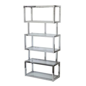 Pre-owned Chrome Cubist Modern Etagere Shelving Bookcase