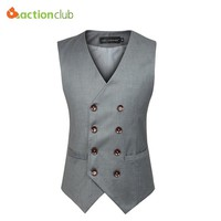 ACTIONCLUB Plus Size 6XL Colete Masculino Mens Double Breasted Vest Men Dress Suit Vest Men Formal Black Gtrey Vest Suit Gilet V