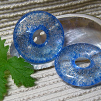 Jewelry Making Supplies /  Blue Glass Meditation Circle Pendant / Round Focal Bead / Fused Glass
