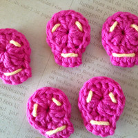 Pink Skull Applique for DIY crafts and Scrapbooking