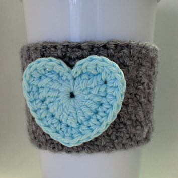 Crochet Heart Coffee Cup Cozy in Heather Gray and Robin's Egg Blue