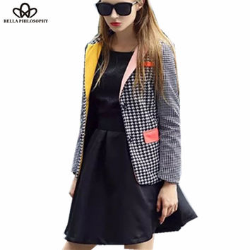 2015 autumn winter new Elegant checkerwork Houndstooth Color Blocking blazer women jacket coat black white