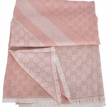 Gucci Women's Large Wool Silk GG Guccissima Scarf Wrap (Pink/Ivory)