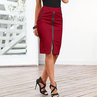 Red Front Slit Skirt