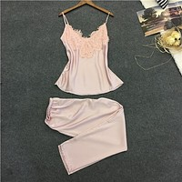 Long pants + tops two pieces women's pajamas set new design female soft cool home wear sleepwear summer hot