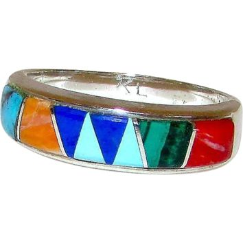 Native American Navajo Calvin Begay Inlay Turquoise Coral Lapis Malachite Spiny Oyster Inlay Ring. Size 7