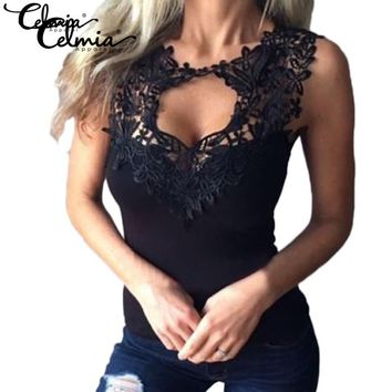 Celmia S-4XL Women 2017 Sexy Lace Tank Top Lace Crochet Low Cut V Neck Fitness Vest Sleeveless T-shirt Mujer Blusas Plus Size