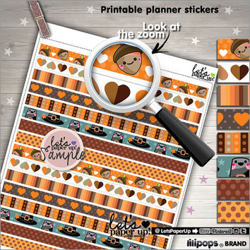 Printable Planner Stickers, Thanksgiving Stickers, Erin Condren, Washi Tape, Kawaii Stickers, Instant Download, Planner Accessories, DIY