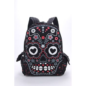 Unisex Sugar Flower Printed Skull Gothic Emo Punk Backpack