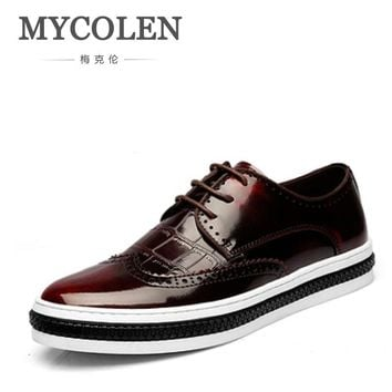 MYCOLEN Genuine Leather Leisure Comfortable Round Toe Lace-Up Carved Brogue Shoes Business Man Dress Shoes Thick Sole Shoes