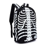 Fashion Canvas Punk Skull Printed Backpacks Waterproof Bookbag Canvas Backpack Bag Boys Girls School Bag  WB485