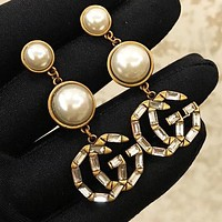Dior Stylish Women Retro Delicate GG Letter Pendant Earrings Accessories