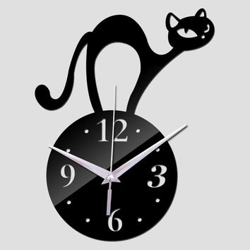 2017 new hot mirror sticker 3d acrylic wall clock home decor modern large poster kitchen animal cat clocks