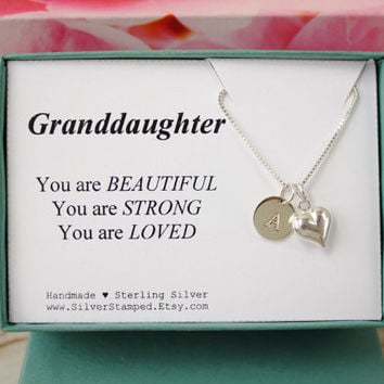 Gift for Granddaughter sterling silver necklace, Unique gift, Personalized gift, monogram initial, dainty necklace, gift box, from grandma