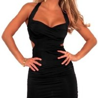 Sleeveless Cut Out Ruched Cross Strap Evening Clubwear Party Mini Dress S M L