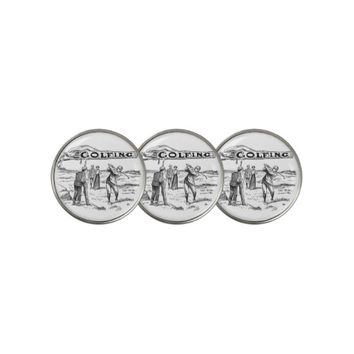 Vintage Drawing Golf Course Players Golf Ball Marker