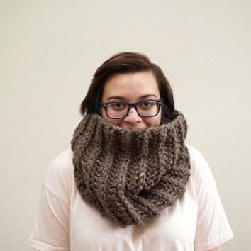 chunky cowl, ribbed cowl, hood scarf, wool cowl, wool scarf, crochet scarf, circle scarf, infinity / THE ORIN / Barley / Wool Acrylic Blend