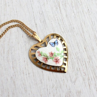 Vintage Enamel Flower Heart Necklace - 1950s Gold Tone Guilloche Floral Costume Jewery / Blue Butterfly