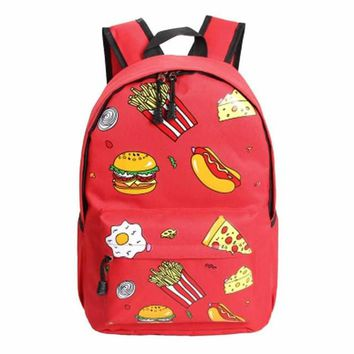 Hamburgers/Hot Dogs/ Pizza/Fries......Cool Junk Food Backpack   Red