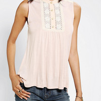 Pins And Needles Lace Inset Button-Down Tank Top