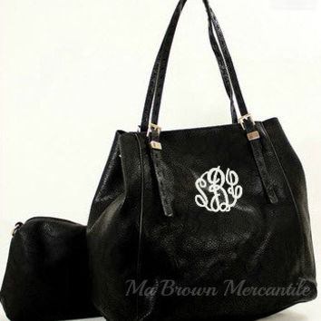 Monogrammed Black Hobo Handbag - 2 in 1 Bag - Personalized Convertible Purse - Monogrammed Crossbody Pocketbook - Monogram Tote